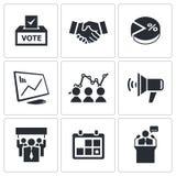 Geplaatste verkiezingspictogrammen Stock Afbeelding