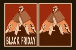 Geplaatste verkoopaffiches Black Friday-Affiches Stock Fotografie