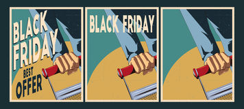 Geplaatste verkoopaffiches Black Friday-Affiches Royalty-vrije Stock Foto