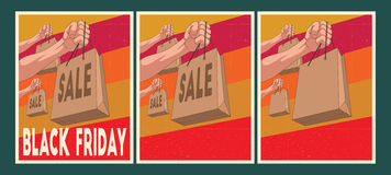 Geplaatste verkoopaffiches Black Friday-Affiches Royalty-vrije Stock Foto's