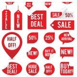 Geplaatste verkoopmarkeringen en Stickers vector illustratie