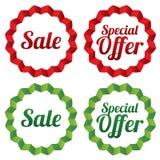 Geplaatste verkoopmarkeringen. Rode stickers. Pictogrammen voor winkels. Royalty-vrije Stock Afbeelding