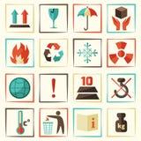Geplaatste verpakkingssymbolen Stock Foto