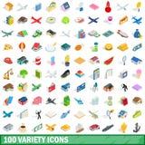 100 geplaatste verscheidenheidspictogrammen, isometrische 3d stijl Stock Foto's