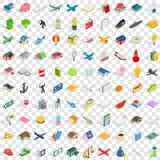 100 geplaatste verscheidenheidspictogrammen, isometrische 3d stijl Stock Afbeelding