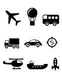Geplaatste vervoerpictogrammen Royalty-vrije Stock Foto