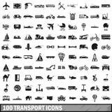 100 geplaatste vervoerpictogrammen, eenvoudige stijl vector illustratie