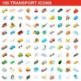 100 geplaatste vervoerpictogrammen, isometrische 3d stijl Stock Foto