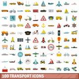 100 geplaatste vervoerpictogrammen, vlakke stijl Stock Foto