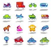 geplaatste vervoerspictogrammen Stock Foto