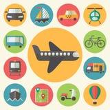 Geplaatste vervoerspictogrammen, vlakke ontwerpvector Stock Foto
