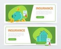 Geplaatste verzekeringsbanners, bescherming van bezit en financiën, het concepten vlak vectorelement van de verzekeringspolisdien royalty-vrije illustratie