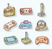Geplaatste videospelletjepictogrammen, krabbelillustratie Stock Foto
