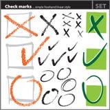 Geplaatste vinkjes (uit de vrije hand artistieke stijl,) Stock Foto's
