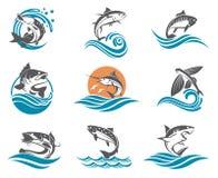 Geplaatste vissenillustraties royalty-vrije illustratie