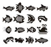 Geplaatste vissenpictogrammen Stock Fotografie