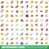 100 geplaatste vitaminepictogrammen, isometrische 3d stijl Royalty-vrije Stock Afbeelding