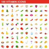 100 geplaatste vitaminepictogrammen, isometrische 3d stijl Stock Foto's
