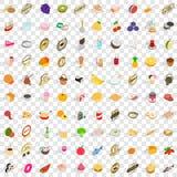 100 geplaatste vitaminepictogrammen, isometrische 3d stijl Royalty-vrije Stock Afbeeldingen