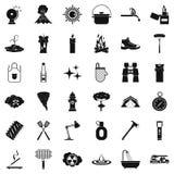 Geplaatste vlampictogrammen, simle stijl Stock Afbeelding