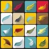 Geplaatste vleugelpictogrammen, vlakke ctyle vector illustratie
