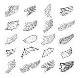 Geplaatste vleugels, vectorillustraties Royalty-vrije Stock Foto's