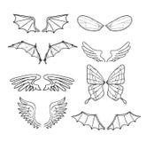 Geplaatste vleugels, vectorillustraties Stock Foto's