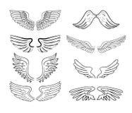 Geplaatste vleugels, vectorillustraties Stock Afbeelding