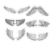 Geplaatste vleugels, vectorillustraties Royalty-vrije Stock Fotografie