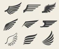Geplaatste vleugels vectorpictogrammen Stock Afbeeldingen
