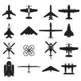 Geplaatste vliegtuigpictogrammen Stock Afbeelding