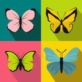 Geplaatste vlinderbanners, vlakke stijl Stock Fotografie