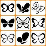 Geplaatste vlinderpictogrammen Royalty-vrije Stock Foto's