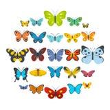 Geplaatste vlinderpictogrammen, vlakke stijl Royalty-vrije Stock Foto's