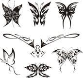 Geplaatste vlindertatoegeringen Royalty-vrije Stock Afbeelding