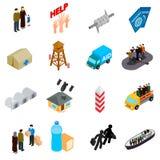 Geplaatste vluchtelingenpictogrammen, isometrische 3d stijl Stock Fotografie