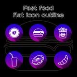 Geplaatste voedsel vlakke lineaire pictogrammen Snel voedsel, pizzeria, koffie en restaurantmenupunten Lange het embleemconcepten royalty-vrije illustratie