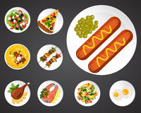 Geplaatste voedselillustraties Royalty-vrije Stock Foto