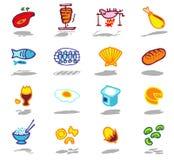 geplaatste voedselpictogrammen Royalty-vrije Stock Afbeelding