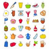 Geplaatste voedselpictogrammen Stock Afbeelding