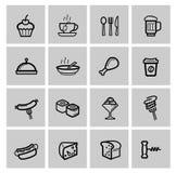 Geplaatste voedselpictogrammen stock illustratie