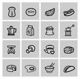 Geplaatste voedselpictogrammen Stock Foto's