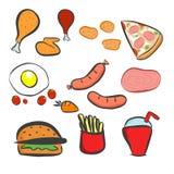 Geplaatste voedselpictogrammen, Snel geplaatste voedselpictogrammen, snel voedsel op geïsoleerde achtergrond - Snel voedsel Vlak  Stock Illustratie