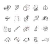 Geplaatste voedselpictogrammen, vectorillustratie Stock Afbeelding