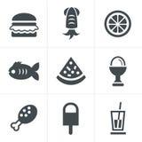 Geplaatste voedselpictogrammen, Vectorontwerp Royalty-vrije Stock Fotografie