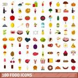 100 geplaatste voedselpictogrammen, vlakke stijl stock illustratie
