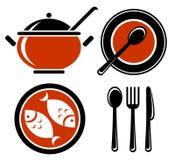 Geplaatste voedselsymbolen Stock Foto
