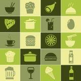 Geplaatste voedselvectoren Stock Fotografie