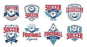 Geplaatste voetbal Klassieke Vectoremblemen royalty-vrije stock foto