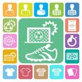 Geplaatste voetbalpictogrammen royalty-vrije stock afbeelding